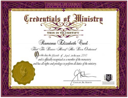 Fascist State -- ULC Ordination Certificate